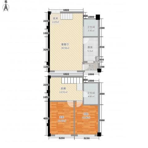 碧海尚城2室1厅2卫1厨122.00㎡户型图