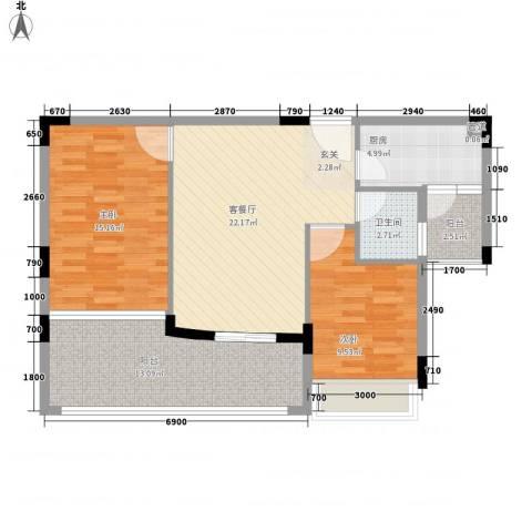 御花苑海蓝湾2室1厅1卫1厨87.00㎡户型图