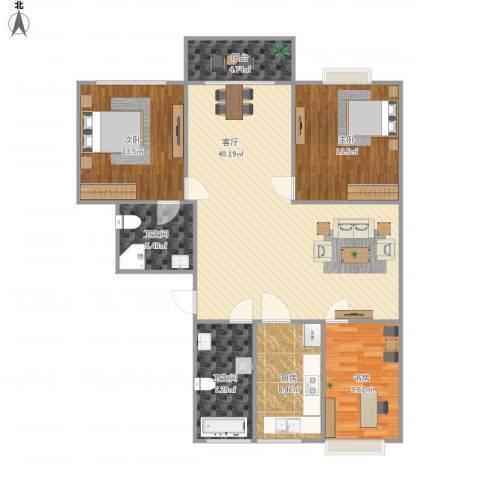 金和家园3室1厅2卫1厨137.00㎡户型图