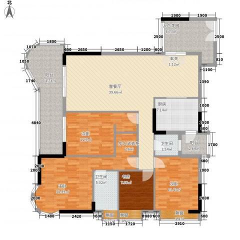 波海蓝湾三期4室1厅2卫1厨189.00㎡户型图