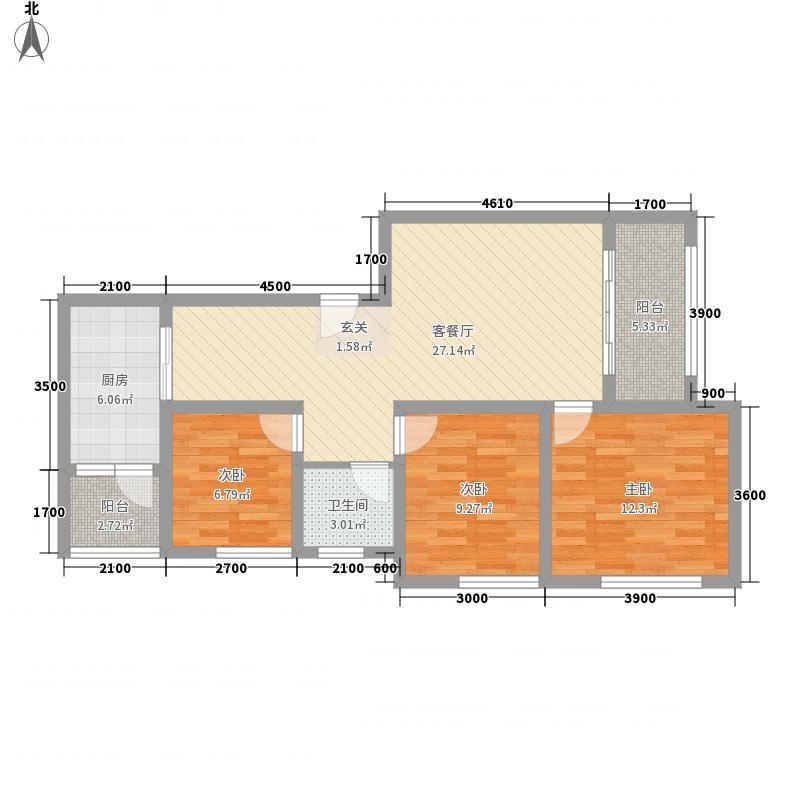 桃溪河畔御龙湾11.52㎡6#楼-D户型3室2厅1卫1厨