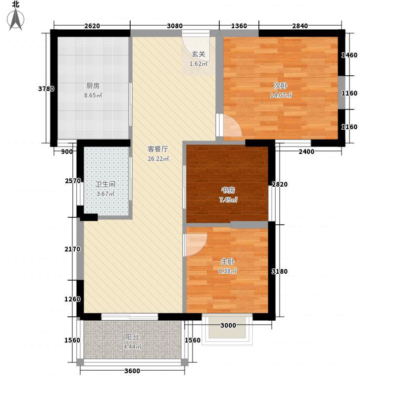 恒远中央公馆16.32㎡一期1#A1户型3室2厅1卫1厨