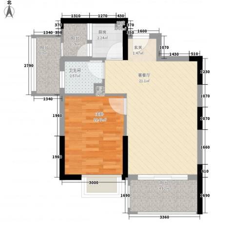 第一教师村1室1厅1卫1厨53.34㎡户型图