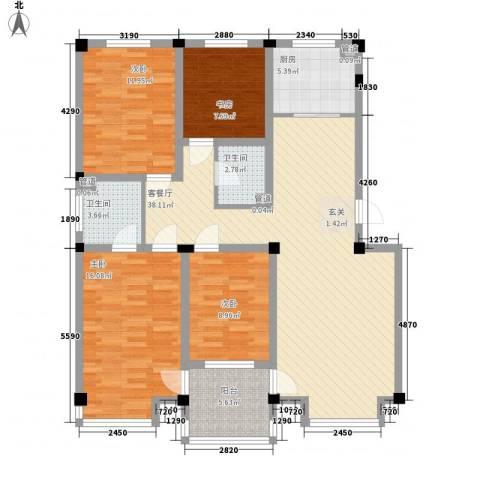 山水龙城4室1厅2卫1厨145.00㎡户型图