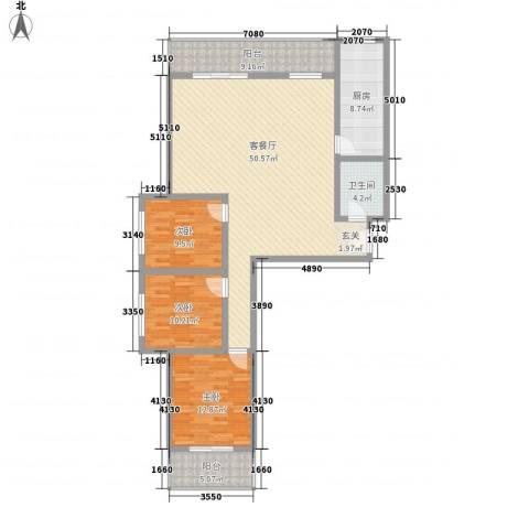 金基泰和苑3室1厅1卫1厨125.00㎡户型图