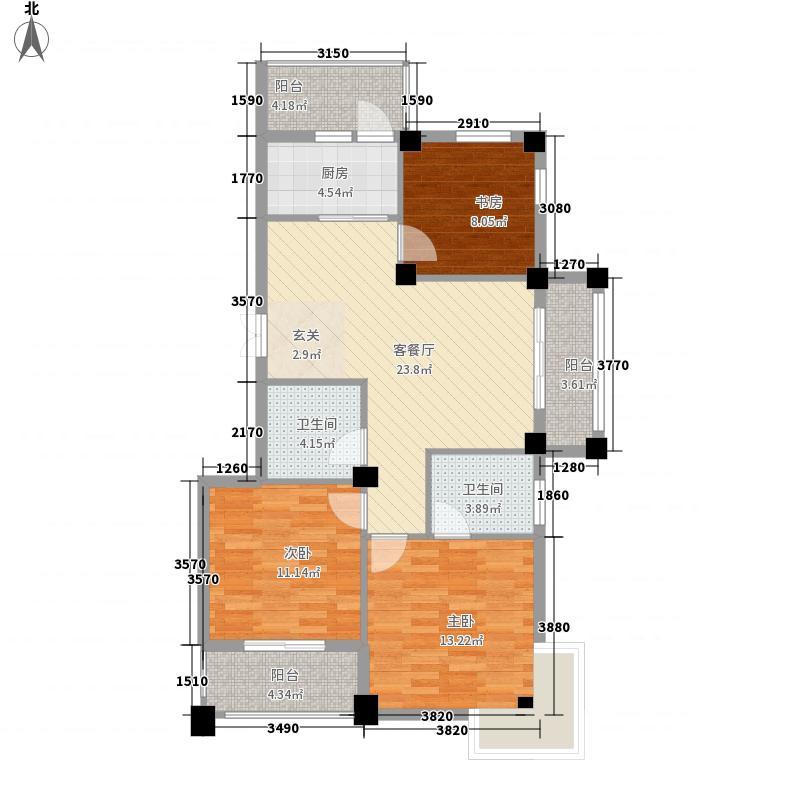 南都花城116.00㎡i户型3室2厅2卫1厨