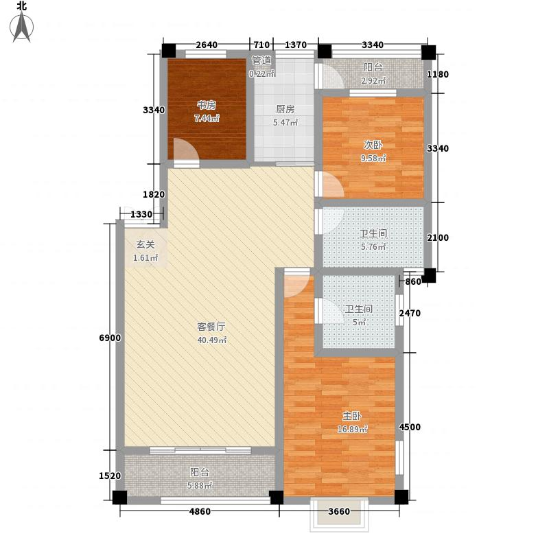 龙泽园126.00㎡C1-2户型3室2厅2卫1厨