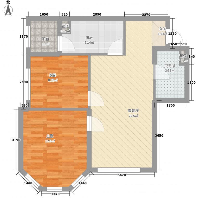 龙跃・金水湾14#户型2室1厅1卫1厨