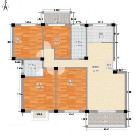 日出东辉4室1厅2卫1厨115.00㎡户型图