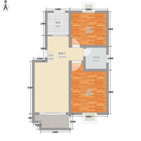 骏豪国际2室1厅1卫1厨95.00㎡户型图