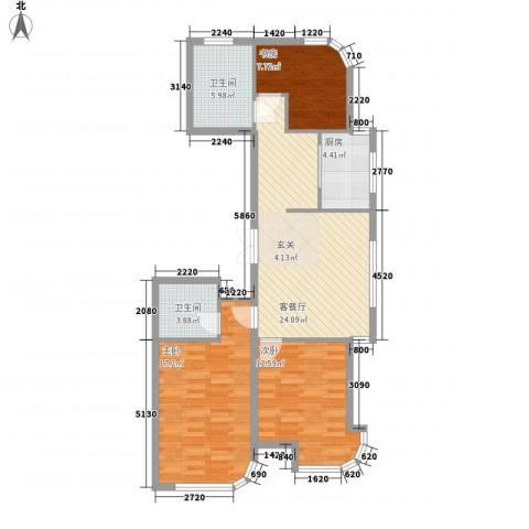 金湖湾首府3室1厅2卫1厨75.87㎡户型图