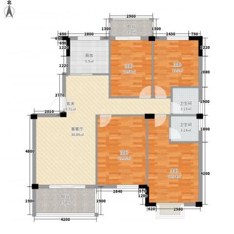 日出东辉4室1厅2卫1厨127.00㎡户型图