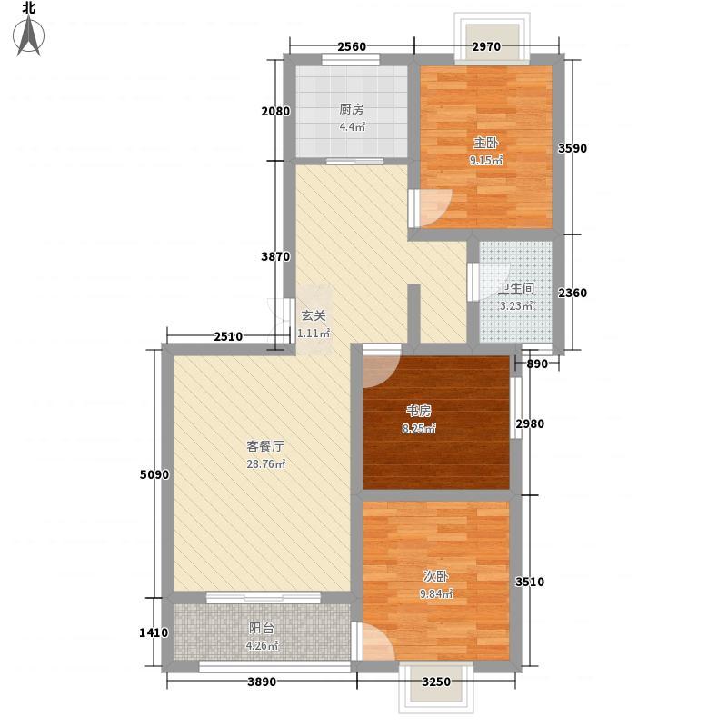 龙泽园87.50㎡F4户型3室2厅1卫1厨