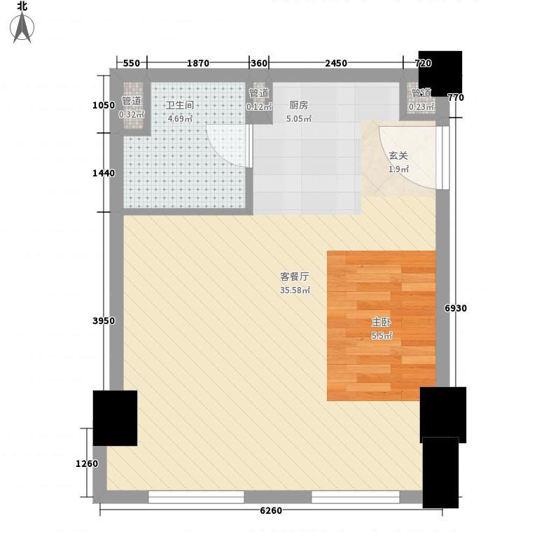 亚奥观典国际公寓64.91㎡f10户型1室1卫1厨
