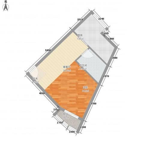 当代名筑1厅1卫1厨46.05㎡户型图