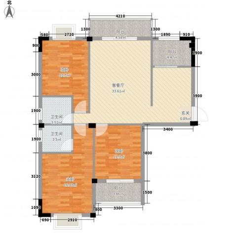 日出东辉3室1厅2卫0厨111.00㎡户型图