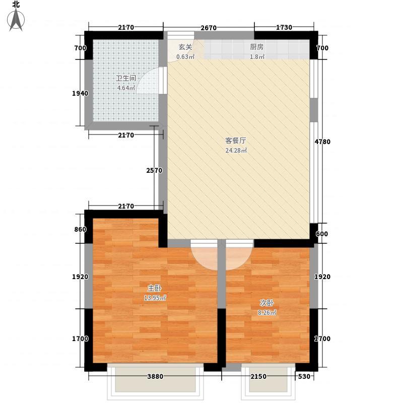 龙泽园76.72㎡二期高层住宅H2户型2室1厅1卫1厨