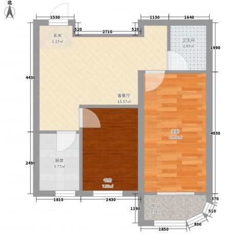 金湖湾首府2室1厅1卫1厨63.00㎡户型图