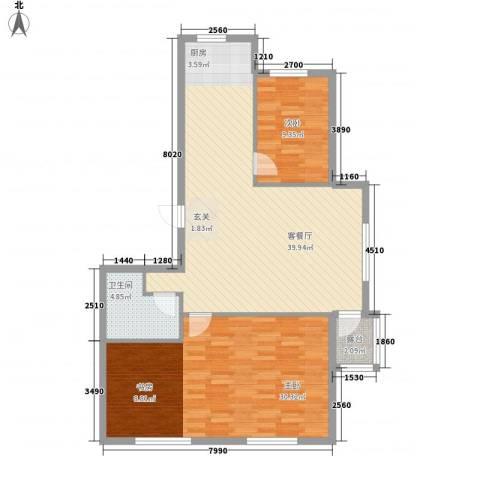 宗裕国际鑫城2室1厅1卫0厨115.00㎡户型图