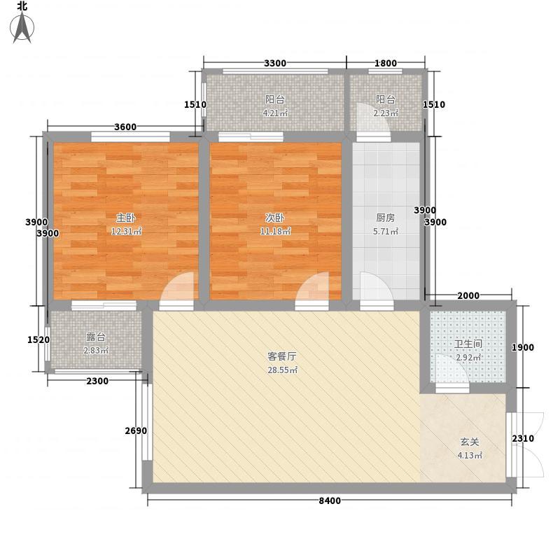 山水华城13.63㎡2#B户型2室2厅1卫1厨