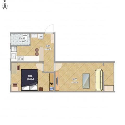 八角中里1室1厅1卫1厨60.00㎡户型图