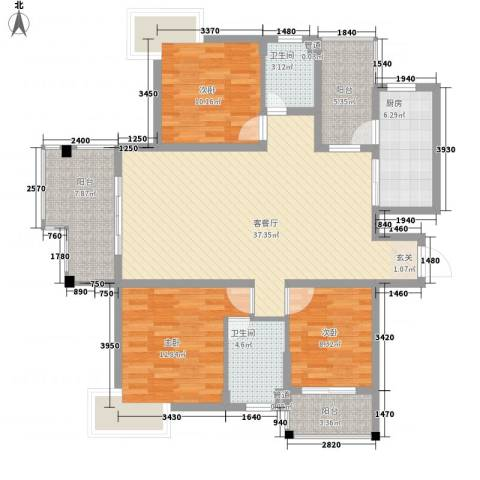 国信世家3室1厅2卫1厨143.00㎡户型图