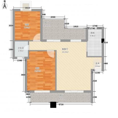 国信世家2室1厅1卫1厨95.00㎡户型图