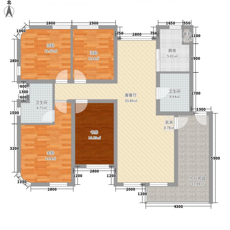 奥林匹克花园131.80㎡Pd户型4室2厅2卫1厨