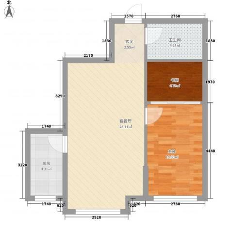 欧典・宏峪2室1厅1卫1厨71.00㎡户型图