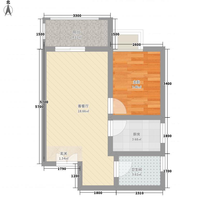 山水华城54.81㎡1#D户型1室1厅1卫1厨
