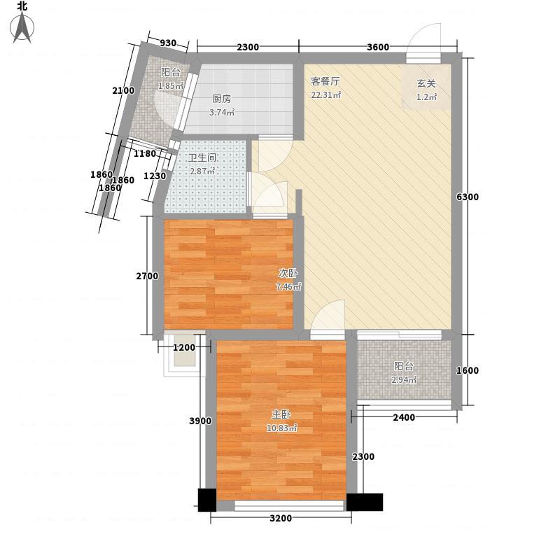 龙城国际67.67㎡D1户型2室2厅1卫1厨