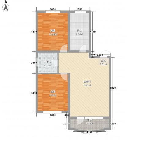 欧典・宏峪2室1厅1卫1厨114.00㎡户型图