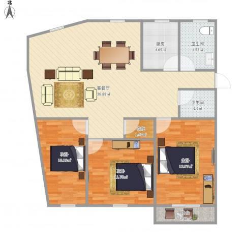 世纪嘉园3室1厅2卫1厨119.00㎡户型图