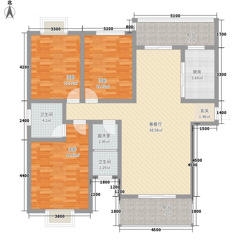 宝城花苑二期136.20㎡A/B户型3室2厅2卫1厨