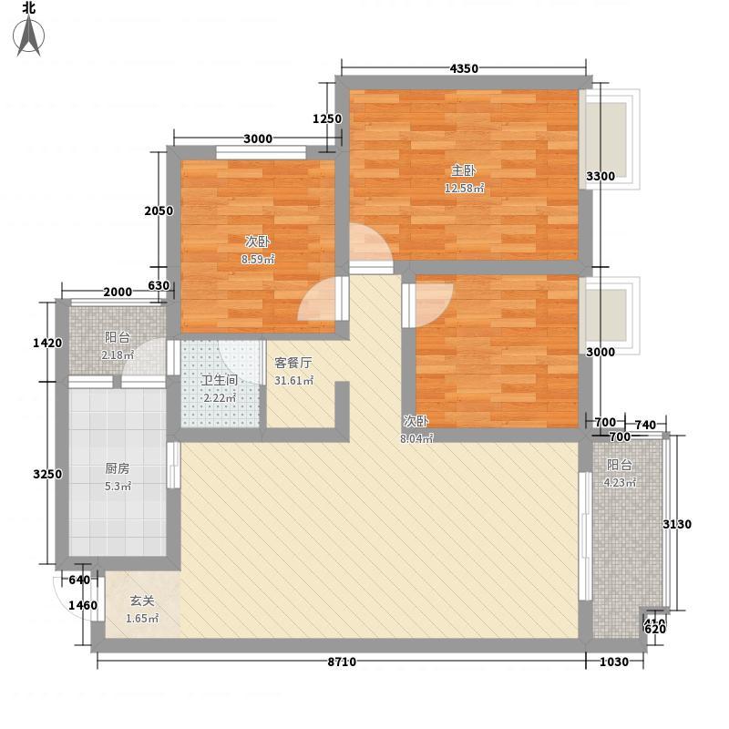 州一豪庭33211.12㎡c户型3室2厅1卫1厨