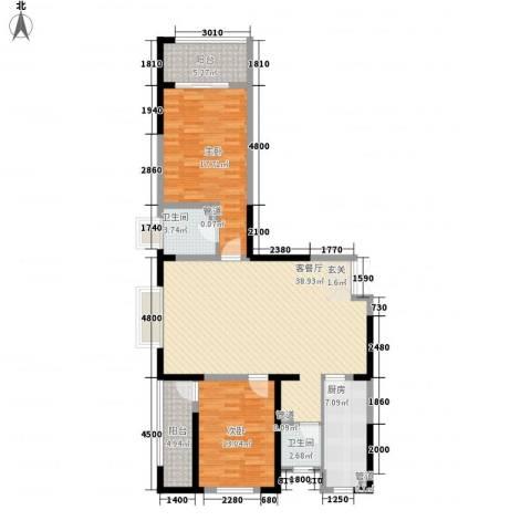 乐都汇公馆2室1厅2卫1厨134.00㎡户型图