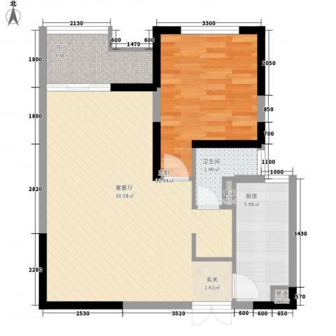 乐都汇公馆1室1厅1卫1厨79.00㎡户型图