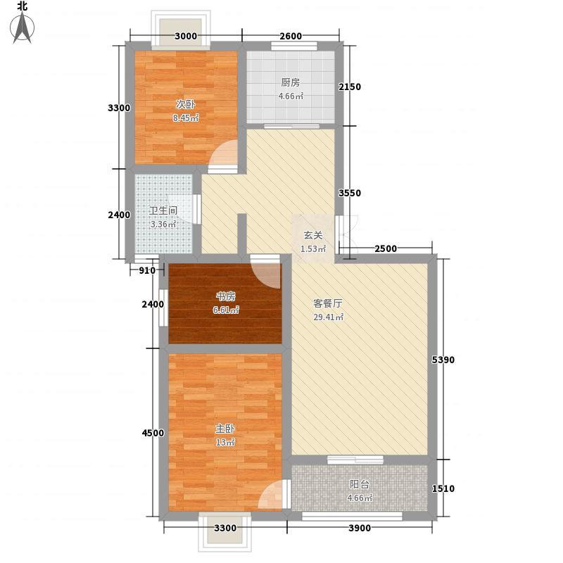 龙泽园888.75㎡F1户型3室2厅1卫1厨