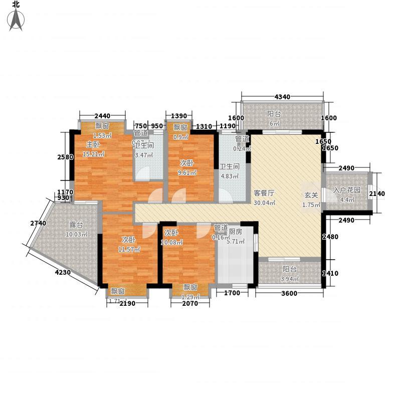 永兴国际城132.00㎡9栋标准层D1户型4室2厅2卫1厨