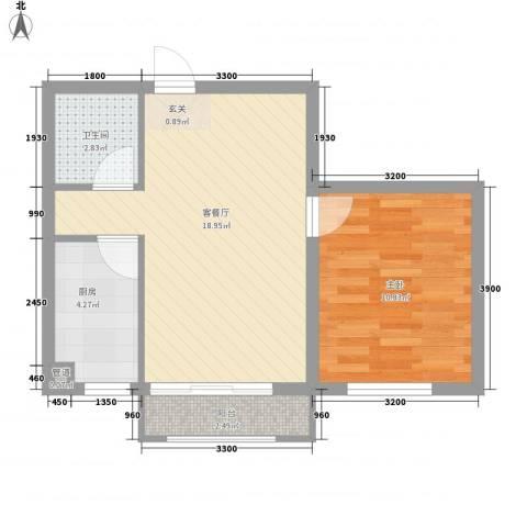 旺力城1室1厅1卫1厨57.00㎡户型图