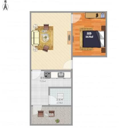 红棉新村1室1厅1卫1厨59.00㎡户型图