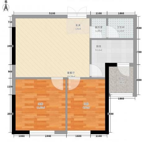 乐都汇公馆2室2厅1卫1厨72.00㎡户型图