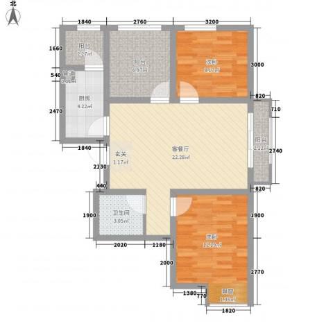 旺力城2室1厅1卫1厨78.00㎡户型图