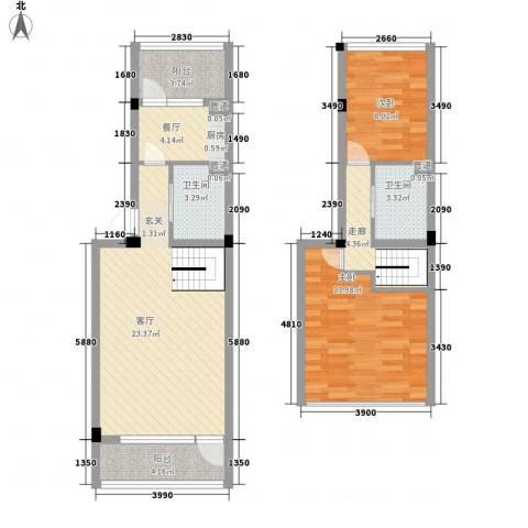 竺山湖小镇2室2厅2卫0厨68.55㎡户型图