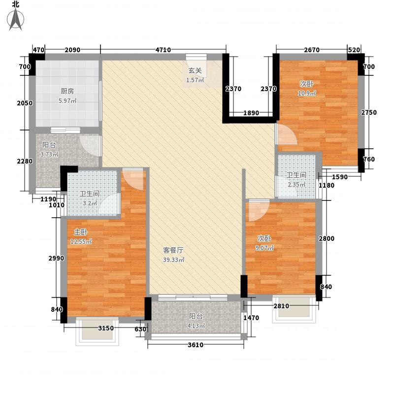津华苑3室1厅2卫1厨128.00㎡户型图