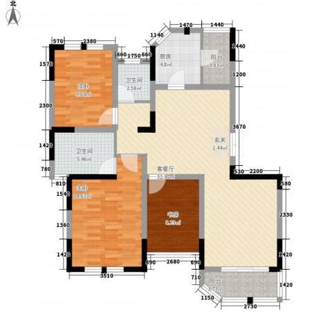 衡山城3室1厅2卫1厨98.16㎡户型图
