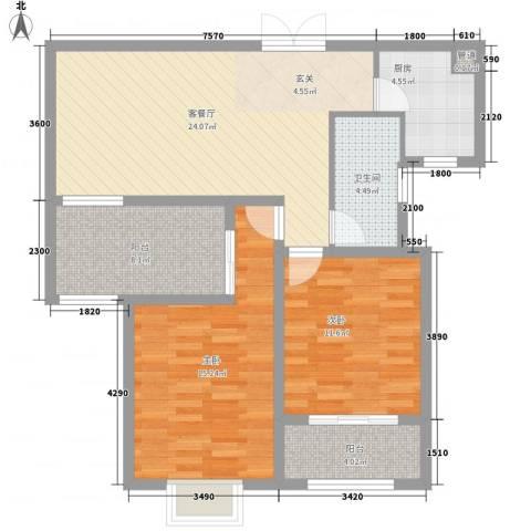 中环城紫荆公馆2室1厅1卫1厨88.00㎡户型图