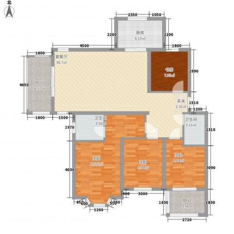 盛世豪庭4室1厅2卫1厨124.00㎡户型图