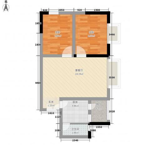响水明苑2室1厅1卫1厨64.00㎡户型图