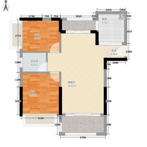 新园华府2室1厅1卫1厨78.00㎡户型图